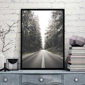 Postercity - Design Canvas Poster Zwart/Wit Bosweg / Muurdecoratie / 40 x 30cm / A3