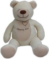Grote zoemende teddybeer - slaapknuffel - met witte ruis geluid - circa 130cm - beige