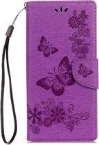 Voor Sony Xperia XA1 Pressed Bloemens vlinder patroon horizontaal Flip lederen hoesje met houder & opbergruimte voor pinpassen & portemonnee(paars)