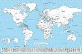 Poster Wereldkaart-Inkleuren- (61x91.5cm)