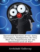 Operational Functions of U.S. Army Contingency Headquarters