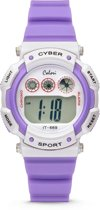 Colori Cyber Sport 5 CLK088 Digitaal Kinderhorloge - Siliconen Band - Ø 36 mm - Paars / Wit