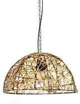 Duurzame hanglamp metaal en leer uit India.