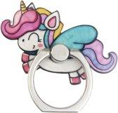 Witte springende Unicorn Ring vinger houder
