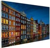 Pakhuizen aan de gracht Amsterdam Glas 180x120 cm - Foto print op Glas (Plexiglas wanddecoratie) XXL / Groot formaat!