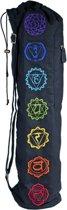 Yogamat tas met trekkoord zwart 7 Chakra's - 74x19 - Katoen - Zwart