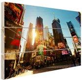 Zonsopgang in Manhattan Hout 30x20 cm - klein - Foto print op Hout (Wanddecoratie)
