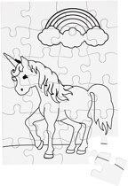 Puzzel, unicorn, A5 15x21 cm, wit, 16stuks