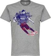 Lionel Messi Barcelona Script T-Shirt - Grijs - M