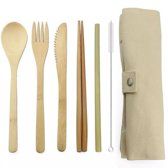 Bamboe bestek - 8-delige set - Beige - 1 persoons