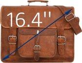 Satchel Tas - ECHTE LEDER – HANDGEMAAKT - Laptoptas 16.4 '' -  ECHT Bruin Leer –Aktetas  A4 – Granada  – Boekentas - Satcheltas + Kadoverpakking GRATIS bij