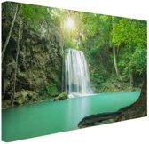 Erawan jungle waterval Canvas 60x40 cm - Foto print op Canvas schilderij (Wanddecoratie)