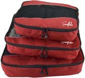 Packing Cubes Set (3x) - Koffer Organiser Voor Backpack & Koffer - Travel - Rood