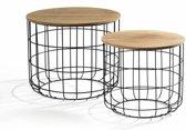 Ronde Bijzettafel Set Van 2 - Metalen Salontafel Basket Koffie Tafel Draadstaal Metaal & Hout