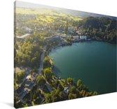 Zonsopgang boven het Meer van Bled in Slovenië Canvas 180x120 cm - Foto print op Canvas schilderij (Wanddecoratie woonkamer / slaapkamer) XXL / Groot formaat!
