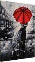 Schilderij handgeschilderd Liefde | Rood , Zwart , Grijs | 70x120cm 1Luik