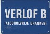 Verlof B - alcoholvrije dranken Muurschild 14,5x10 cm