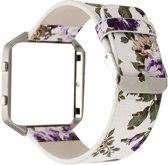 Bloemrijk Hip Eco Leer Armband voor Fitbit Blaze met Behuizing (dominante kleur - Paars)