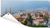 Panorama van de eeuwenoude stad Bursa in Turkije Tuinposter 60x30 cm - klein - Tuindoek / Buitencanvas / Schilderijen voor buiten (tuin decoratie)