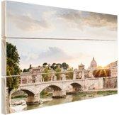 Zonsondergang Rome Hout 120x80 cm - Foto print op Hout (Wanddecoratie)