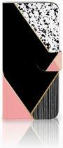 Bookcase Samsung Galaxy A50 Zwart Roze Vormen