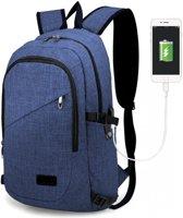 Rugzak - Laptoptas inclusief USB Oplaadstation - Schooltas - Werktas - Blauw - Kono (E6715 NY)