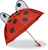 relaxdays kinderparaplu diermotief - 3d paraplu - meisje - jongen - kinder paraplu Lieveheersbeestje