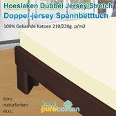 Homéé - Hoeslaken Double dik jersey stretch 210g. p/m2 100% katoen - Beige / Creme - 90/100x200 +30cm