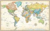 Wereldkaart poster Rand McNally- old style-geplastificeerd -125x80cm - Multi-Luxe wanddecoratie