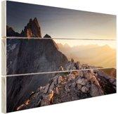 Uitzicht over de bergen Hout 160x120 cm - Foto print op Hout (Wanddecoratie) XXL / Groot formaat!