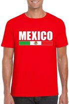 Rood Mexico supporter t-shirt voor heren - Mexicaanse vlag shirts S