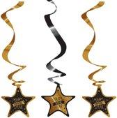Luxe hangdecoratie Happy New Year 3 stuks - Oud en nieuw versiering