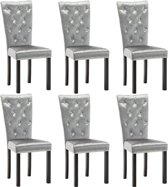 Eetkamerstoelen Zilver 6 STUKS Velvet Fluweel met Kristalvormige Knopen / Eetkamer stoelen / Extra stoelen voor huiskamer / Dineerstoelen / Tafelstoelen / Barstoelen / Huiskamer stoelen/ Tafelstoelen / Barstoelen
