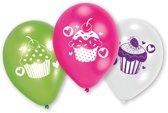 6 Latex Balloons Cupcake 22.8 cm/9