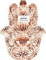 Lined Journal (Diary, Notebook). Hamsa Design. Rose Gold