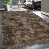 Trendy Design Vloerkleed Shaggy Tapijt Bruin Beige Glitter 120 x 170 cm