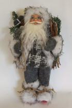 Staande kerstman met zak en brandhout en stoffen kleding - 30 cm