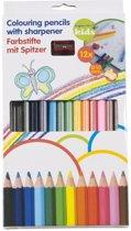 12 dikke kleurpotloden met puntenslijper