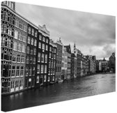 Amsterdamse grachten zwart-wit  Canvas 30x20 cm - klein - Foto print op Canvas schilderij (Wanddecoratie woonkamer / slaapkamer)
