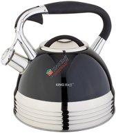 Kinghoff 1059 - fluitketel - zwart - RVS - 2.7 liter