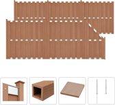 vidaXL Schuttingset 5 vierkant en 1 schuin 1028x185 cm HKC bruin