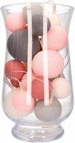 Sfeerverlichting perfect combi roze/grijze balletjes in vaas
