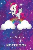 Alice's Unicorn Rainbow Notebook