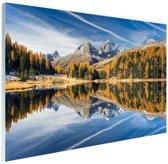 Weerspiegeling in het water bij de Alpen Glas 60x40 cm - Foto print op Glas (Plexiglas wanddecoratie)