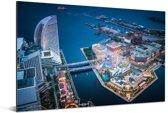 Luchtfoto van de baai in de Japanse stad Yokohama Aluminium 90x60 cm - Foto print op Aluminium (metaal wanddecoratie)