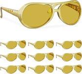relaxdays 10 x Rapper bril goud - feestbril - party bril - carnavalskleding