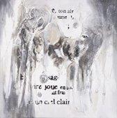 Schilderij abstract grijs wit 100x100