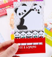 Memoblokje en Sticky notes met Panda's - 20 memoblaadjes en 5 x 20 sticky notes