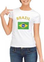 Wit dames t-shirt met vlag van Brazilie S