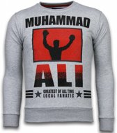 Local Fanatic Muhammad Ali - Rhinestone Sweater - Grijs - Maten: XXL